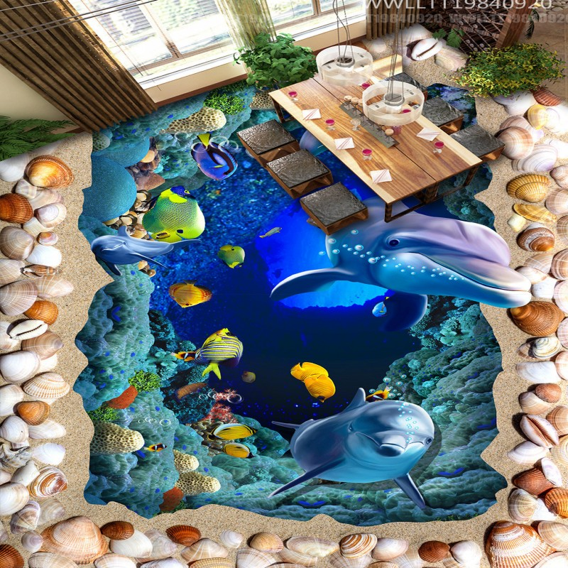 Free Shipping Custom 3D cartoon floor painting Sea World Dolphin aquarium school show hall floor wallpaper mural серьги diva diva di006dwzgk63