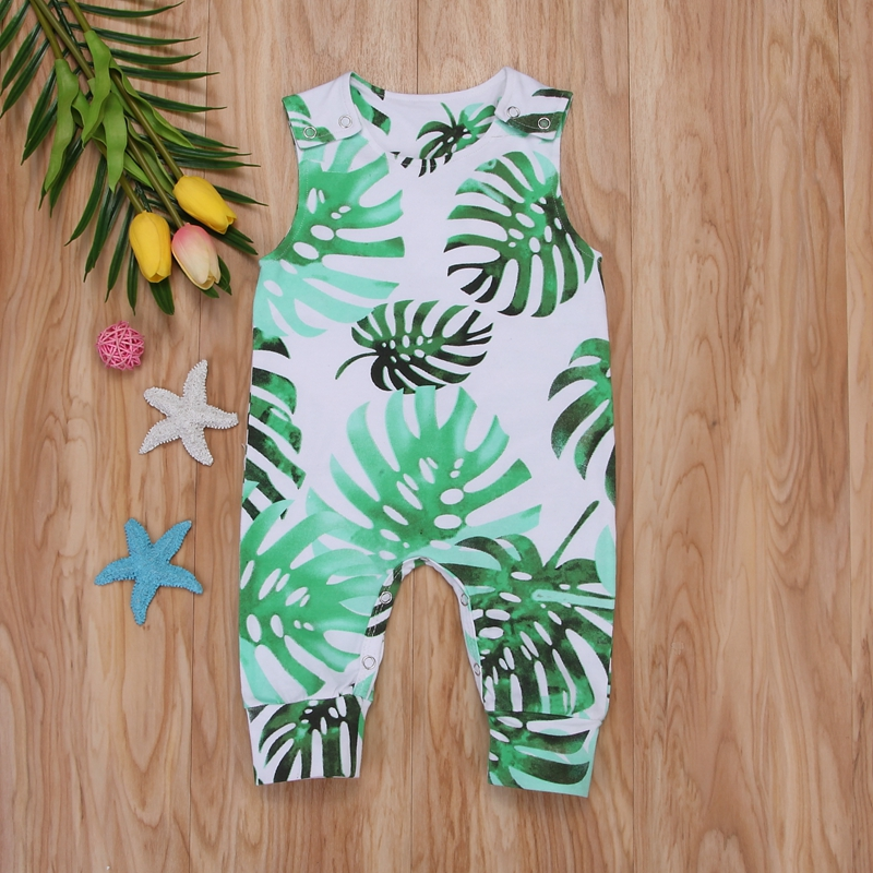 Summer Children   Romper   Jumpsuits Kid Baby Girl Boy Banana Leaves   Romper   Outfits Siamese Clothing