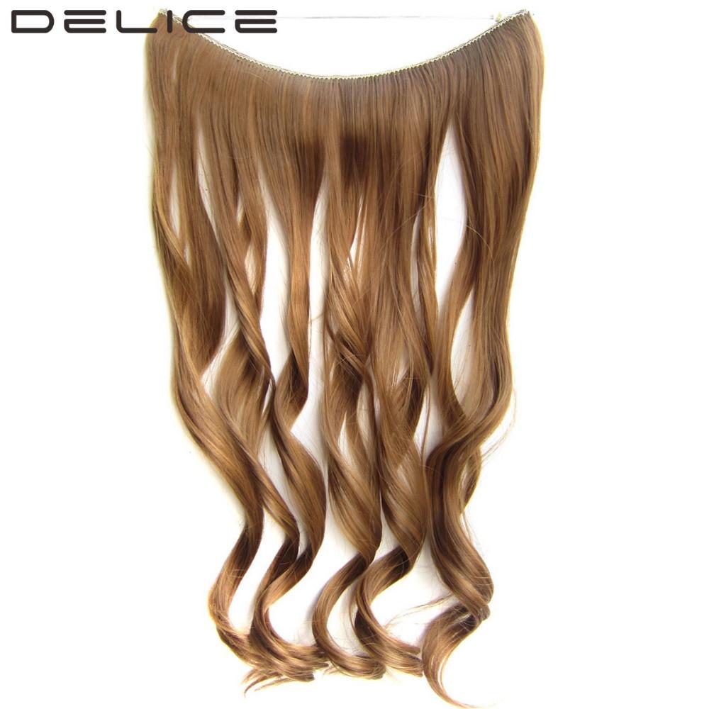 """[DELICE] 55 ס""""מ 50 גרם\יחידה ארוך מתולתל תוספות שיער סינטטי סיבי טמפרטורה גבוהה עם חוט דג שקוף בלתי נראה אין סרטון"""
