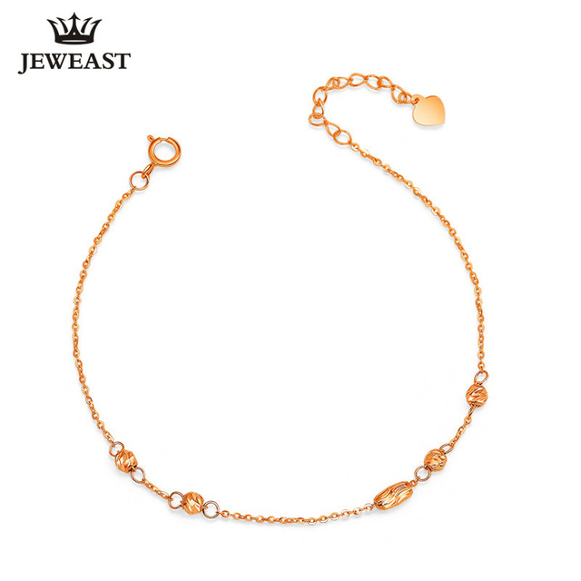 18k gold bracelet circle AU750 Classic simple hot selling Anklet Rose White Yellow lucky bead Women Lovers Girls Genuine classic