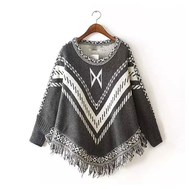 Women Autumn Winter Sweater Knitted Batwing Tassel Pullover Sweaters Tops Knitwears Womens Capes and Ponchos Womens Clothings