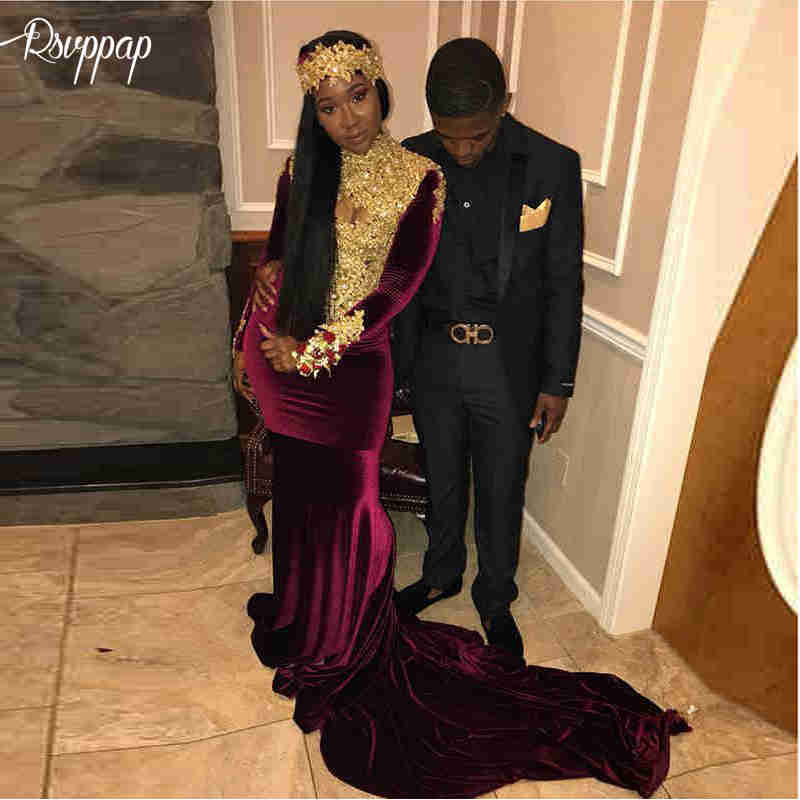 Long Elegant   Prom     Dresses   2019 Sexy Mermaid High Neck Long Sleeve Gold Beaded Lace African Girl Purple Party Women   Prom     Dress