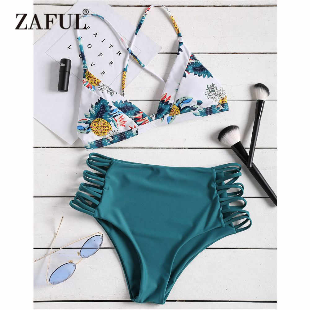 1458c5523d7fb ZAFUL Pineapple Bikini Swimwear Women Strappy High Waist Pineapple Swimsuit  Biquni Spaghetti Straps Padded Biuqni Bathing