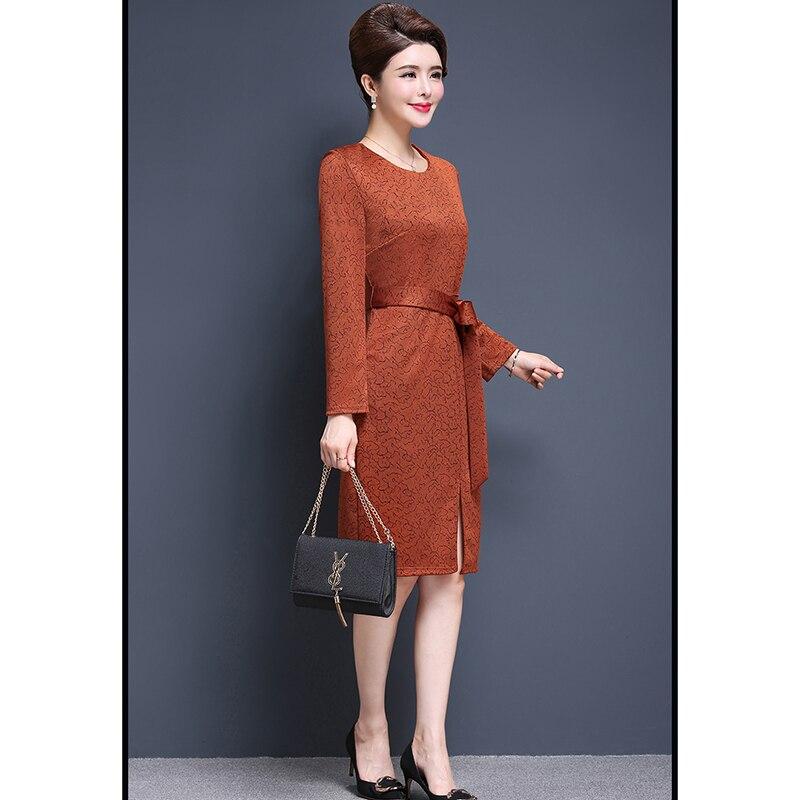 Avec Nw1169 orange 2019 Robes Robe Partie Femmes Genou De Mode Élégant  Ceintures Soirée longueur Printemps Imprimer Nouveau Des Gris Automne TdwHT6 080f607596e
