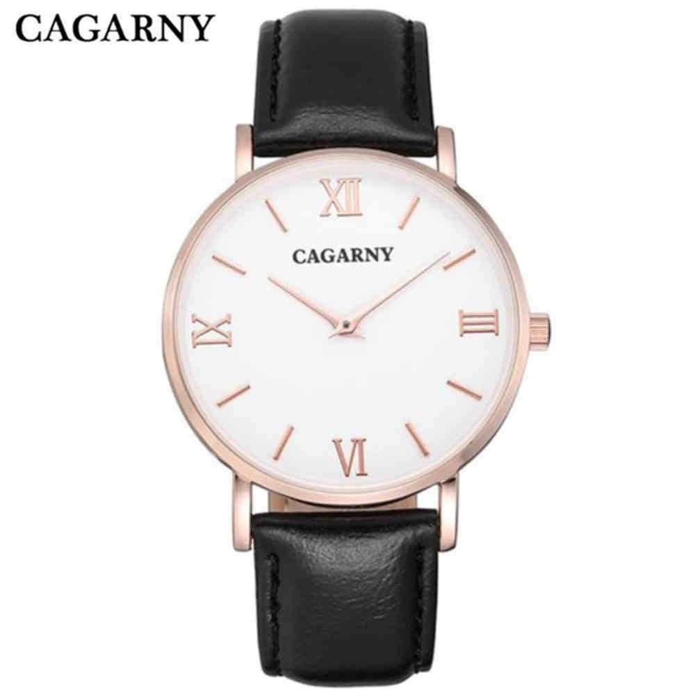 CAGARNY Men Quartz Watches Man Style Watch  Fashion Wristwatch Ultra Thin Case Leather Watchband Brand Luxury Clock PENGNATATE