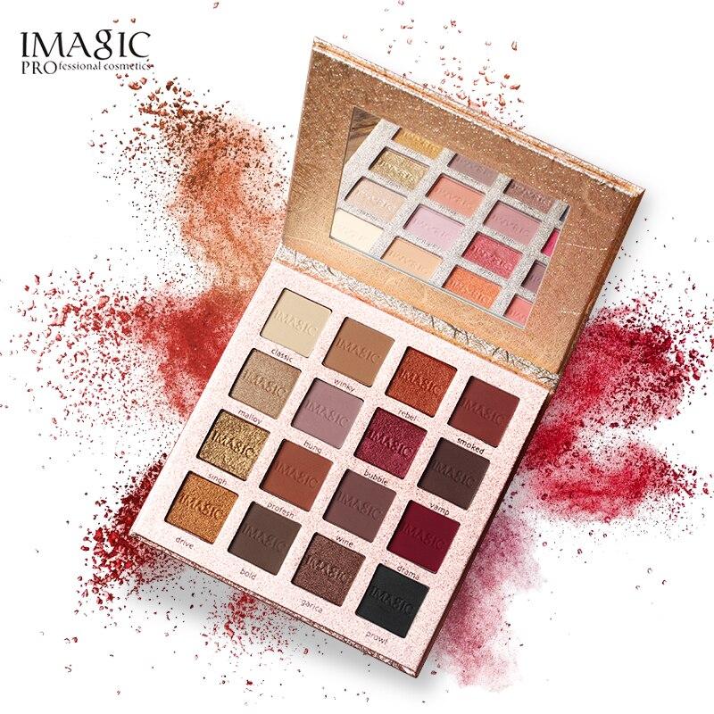 IMAGIC nueva llegada encantador de sombra de ojos de 16 Color paleta mate brillo pigmento sombra de ojos en polvo
