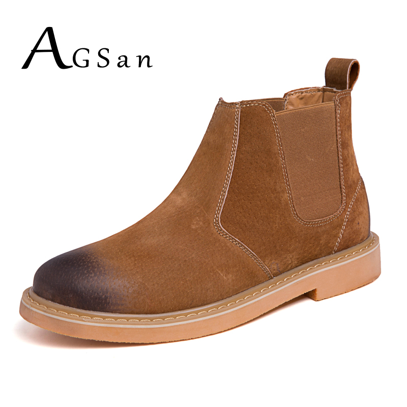 AGSan Chelsea Boots Men Genuine Leather Ankle Boots Pointed Toe Plush Mens Boots Martin Fashion Winter Boots for Men Brown Black new arrival women boots nubuck leather pointed toe winter shoes ankle boots fashion martin boots metal decration chelsea boots