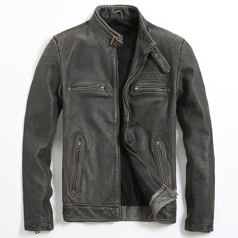 2018 Vintage Black Men Genuine Biker's Leather Jacket Plus Size 3XL Thick Cowhide Slim Fit Motorcycle Leather Coat FREE SHIPPING