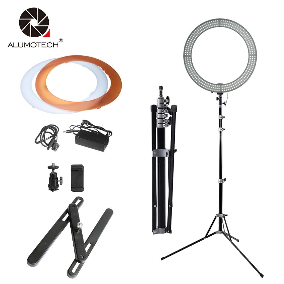 Alumotech 18 Ring LED Light Stand Selfie Lights 60W 5500K 3200K Dimmable Lamp Bulbs for Camera