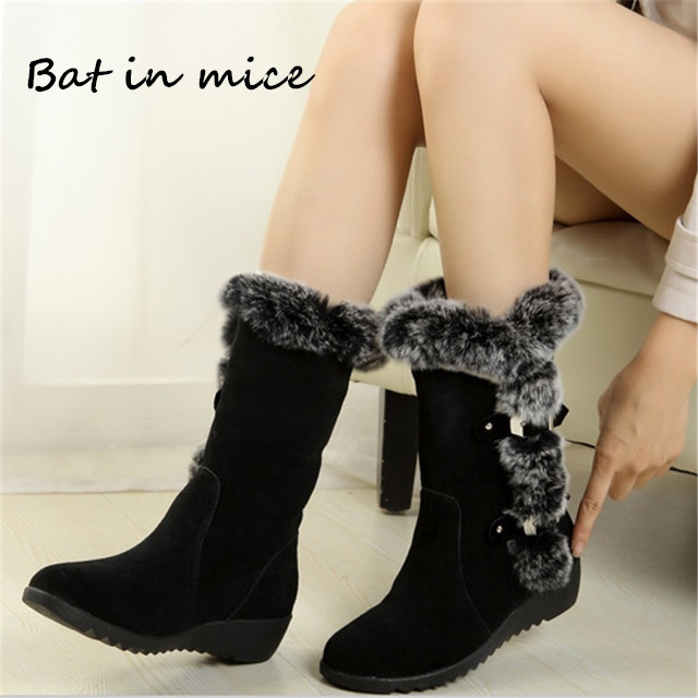 New Winter women casual Warm fur Mid-Calf boots shoes women Slip-On Round Toe flats Snow Boots shoes muje plus size 35-40 W351 big size new fashion women boots slip on mid calf flats shoes round toe winter snow boots solid plush soft leather shoes woman