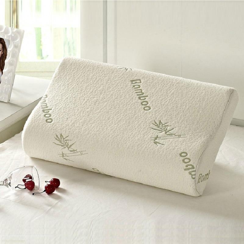 Almohada de espuma de memoria para dormir Bammbo, almohada ortopédica de látex para cuello, almohada suave de fibra de rebote lento, masajeador para la salud Cervical