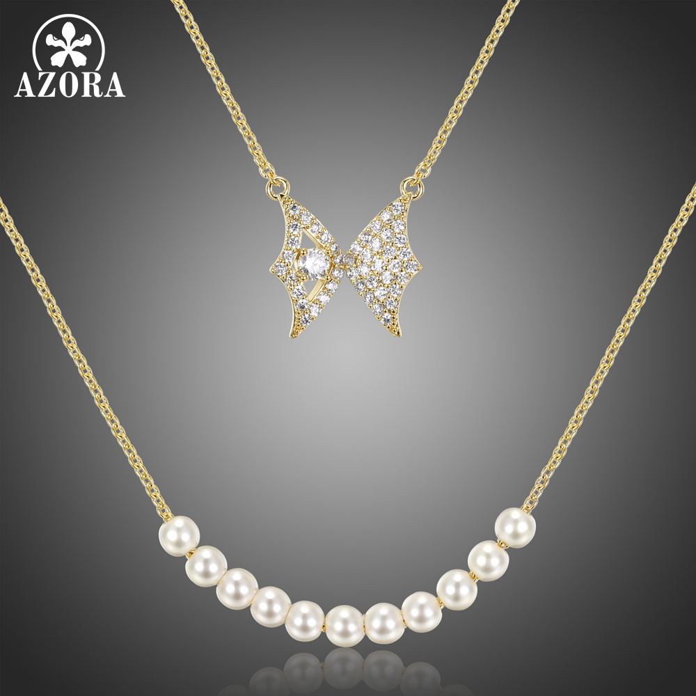 AZORA Butterfly Pearl Pendant Double Chain Necklace for Women Girls Wedding Engagement with Cubic Zircon Fashion Jewelry TN0280(China)