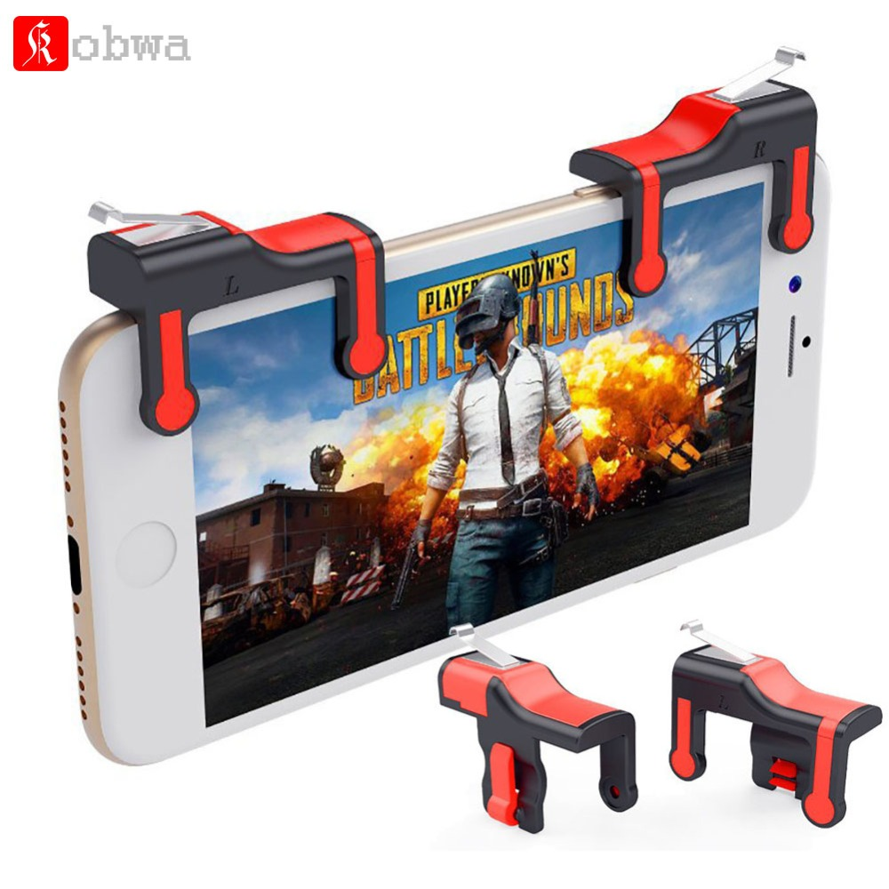 Kobwa Red Mobile Game Controller for PUBG Sensitive Shoot and Aim Buttons L1R1 for Rules of Survival Smart Phone Gaming Shooter