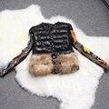 Клиренс Зима Теплое пальто толстый хлопчатобумажный пиджак 2016 женщин Вышивка натуральный мех короткий Вниз Пальто и пиджаки парки