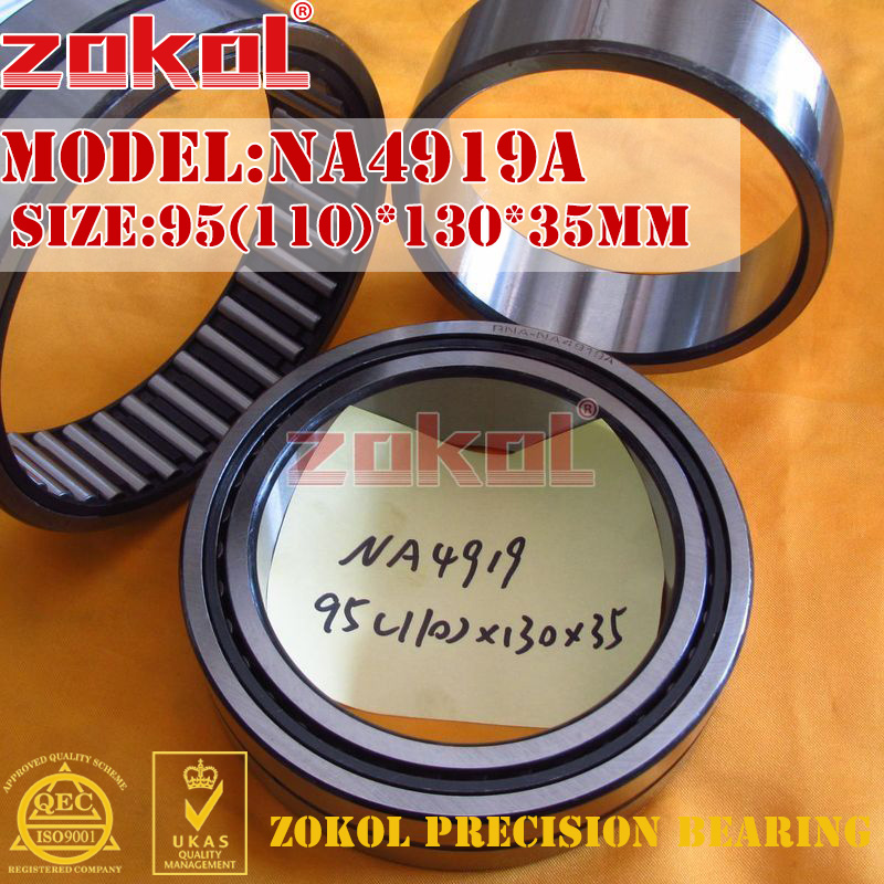 ZOKOL bearing NA4919 A NA4919A Entity ferrule needle roller bearing 95(110)*130*35mm na4922 heavy duty needle roller bearing entity needle bearing with inner ring 4524922 size 110 150 40