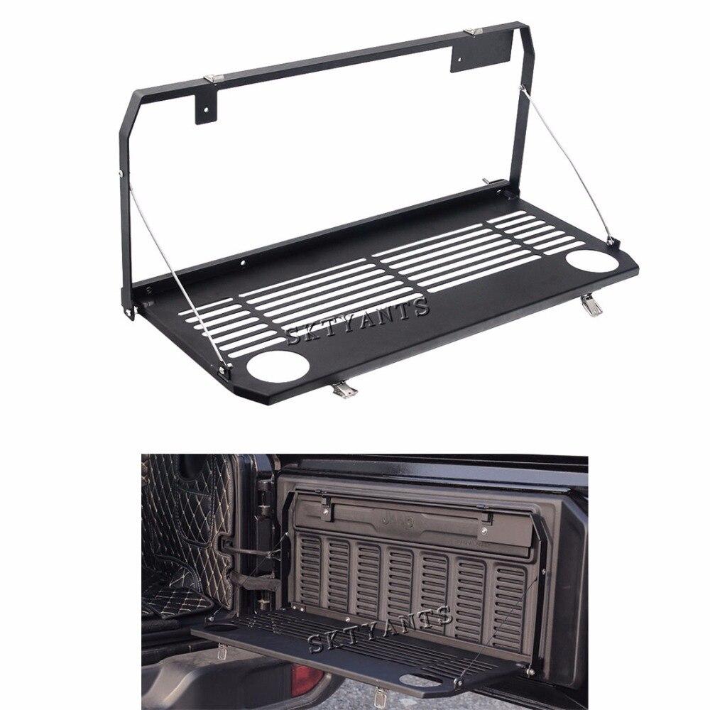 Table de hayon de porte arrière pliable s'adapte à la Table de porte arrière étagère de chargement de stockage pour 2018-2019 accessoires de porte Jeep Wrangler JL 2/4