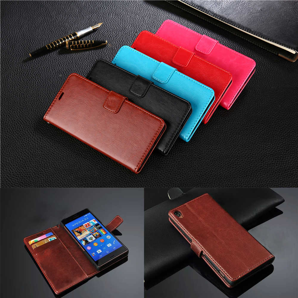 Prmiume Wallet Leather Case For Sony Xperia Z Z1 Z2 Z3 Z4 Z5 Premium XA1 XZ XZ1 XZ2 XA2 C3 S39H Compact Ultra Plus Wallet Cover