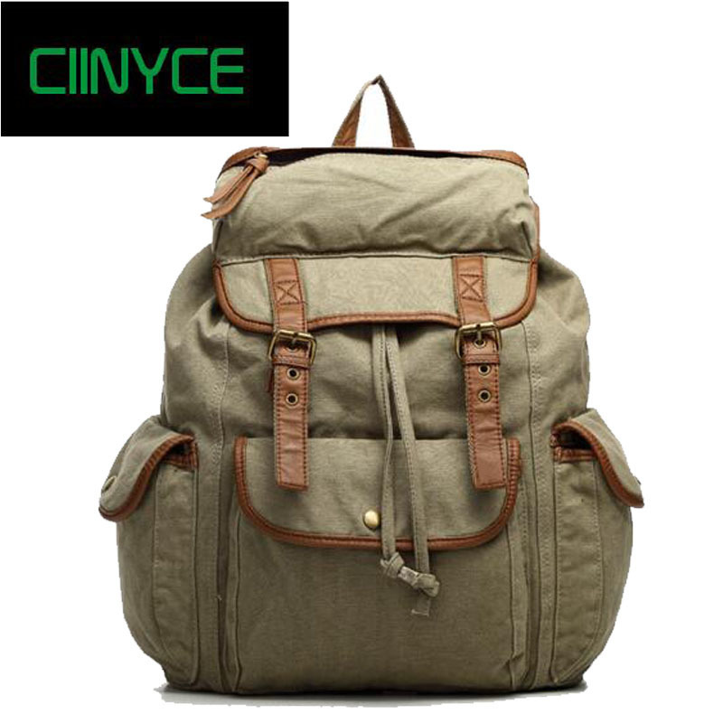 New Vintage Canvas Cotton Shoulders Back pack Genuine Cowhide Men's Women's Casual Travel Bags Laptop School Backpacks 2018 hot new travel sack designer backpack women back pack school girl cotton canvas diamond lattice backpacks green oxford bags