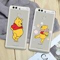 Winnie pooh tigre teléfono case para huawei p9 plus p9 lite p8 lite mate 9 8 7 back case de silicona suave duro pc smartphone case