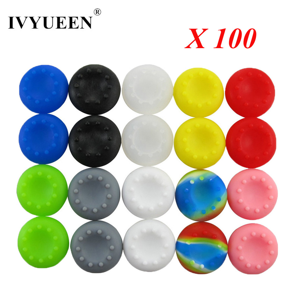 IVYUEEN 100 pcs Silicone Analog Thumb Stick Grips for PS4 Pro Slim for Xbox One Elite S X Controller Thumbsticks Caps for PS3 2pcs metal thumb grips for ps4 blue