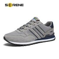 SERENE Brand 2017 Men Casual Shoes Big Size 37 44 Gray Blue Color Soft Mesh Light