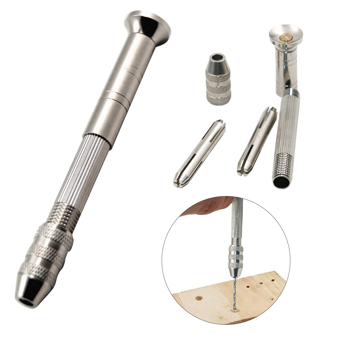 Aluminum Micro Hand Tool Woodwork 0.5-2.5mm Manual Drilling Drill Bit Driller Nuclear Carving Manual Drilling Hole Puncher
