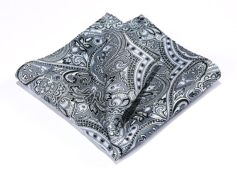 HN37A Grey Black HISDERN Handkerchief 100% Natural Silk Satin Mens Hanky Fashion Classic Wedding Party Pocket Square