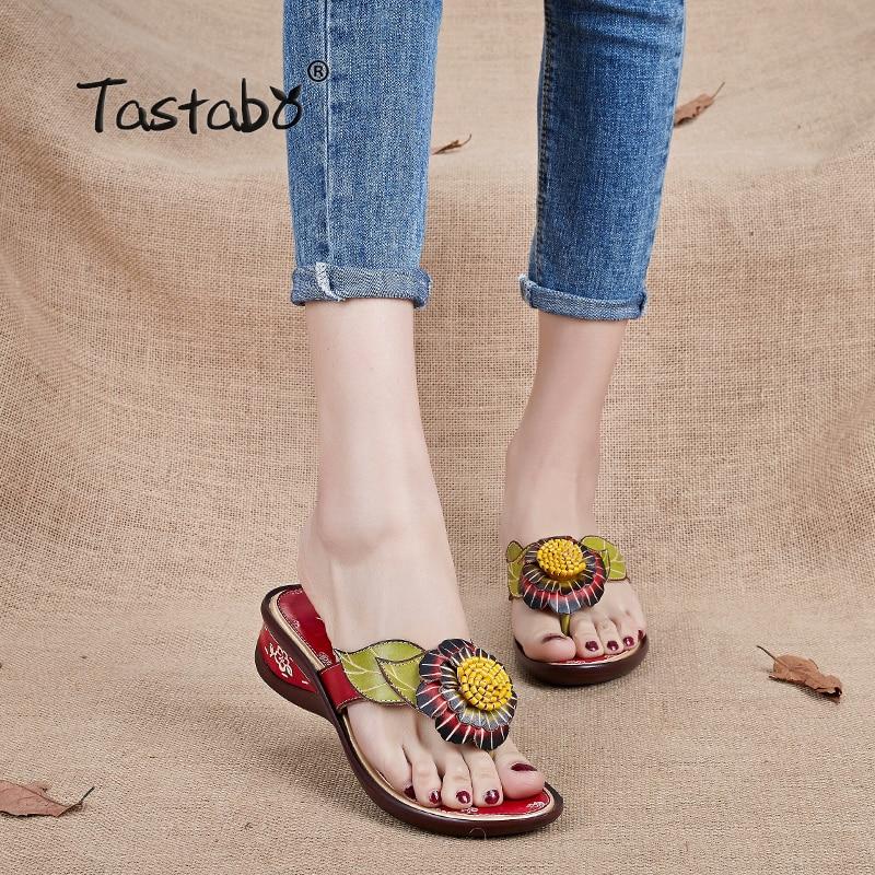 Tastabo Brand Fashion Flip Flops Low Wedges Handgjorda Flower Slides Äkta Läder Tofflor För Kvinnor Utomhus Tofflor Skor