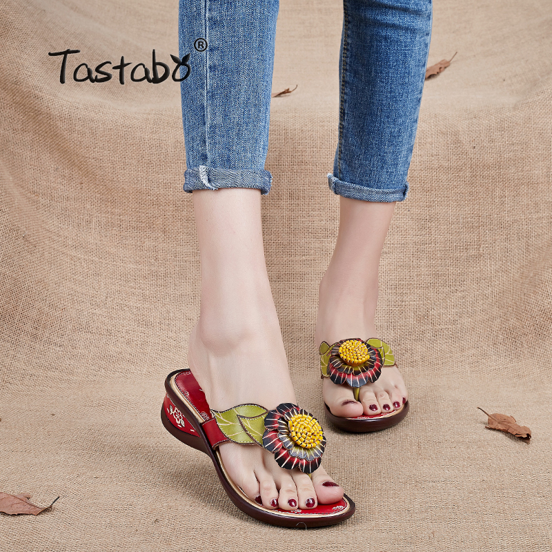 Tastabo Brand Fashion Flip Flops Wedges Rendah Slide Bunga buatan tangan Selipar Kulit Asli Untuk Wanita Sandal Selipar Kasut