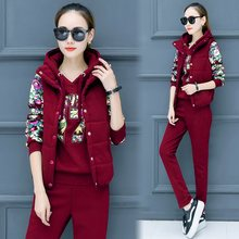 2019 female ladies Women's sweatshirt vest pants 3 pieces Set plus velvet thickening plus size casual nice Suit Cheap wholesale(China)
