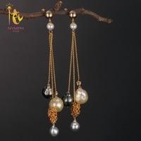 [NYMPH] Long Pearl Earrings For Women Fine Jewelry Real Fresh Water Pearl Earrings Tassel Baroque Fashion Engagement Gift E312