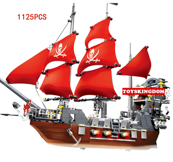 Hot Caribbean pirate black Beard Queen Anne Revenge ship building block navy figures bricks toys collection for adult kids gifts
