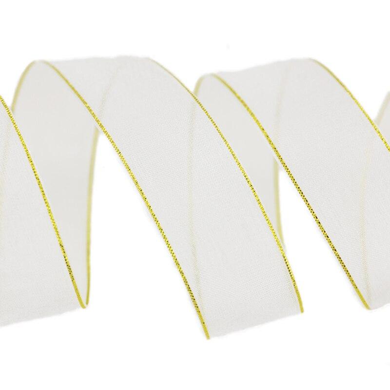 25 мм белый золотой край органза оберточная лента для подарков украшения ленты