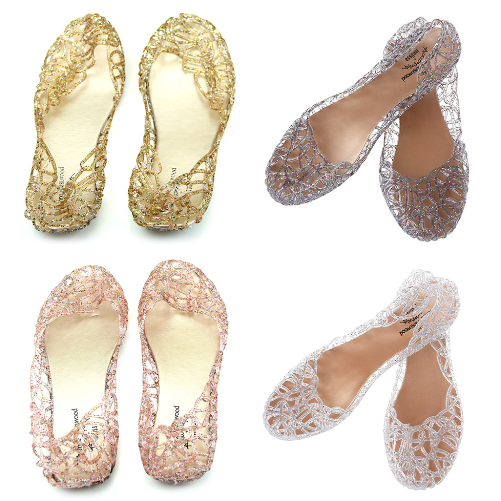 THINKTHENDO New 1Pair Ventilate Crystal Jelly Hollow Out Birds Nest Flat Sandal New Summer Beach Shoes lcx 2017 summer pvc hollow out sandals glitter flat stock the bird nest hole wholesale or retail