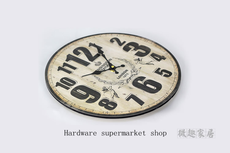 1 picece retro vintage rustic wooden home decorative Digital pattern wall clock,antique clock, clock designed on the wall