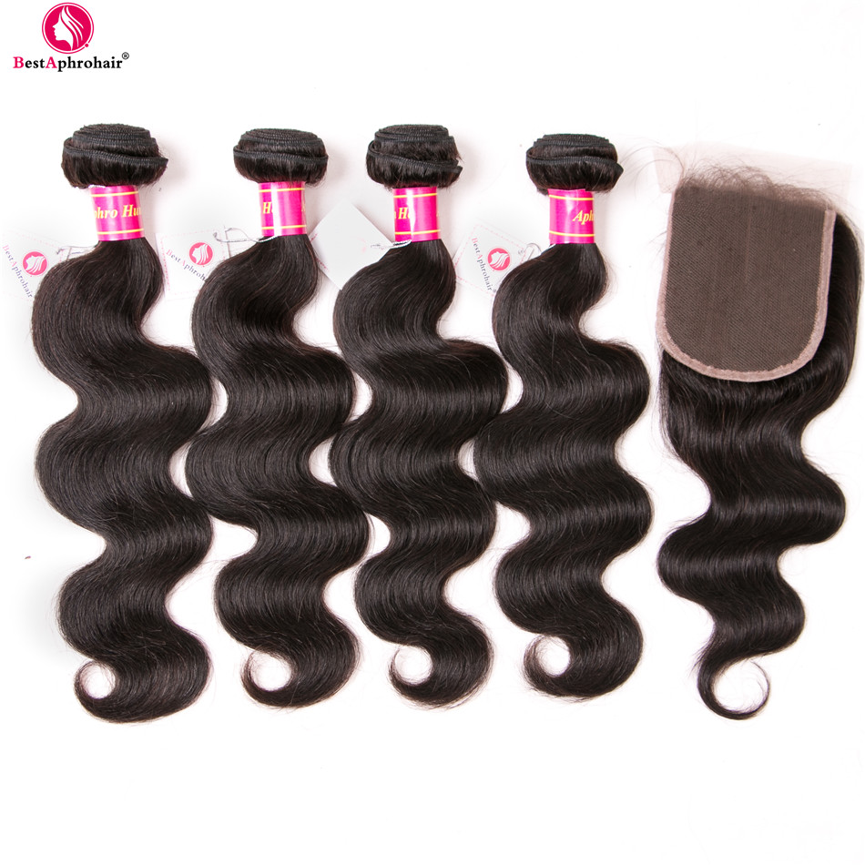 Aphro Hair 4x4 Lace Closure With Bundles Nonremy Brazilian Body Wave 4 Bundles With Closure Free Part Real Human Hair Extensions