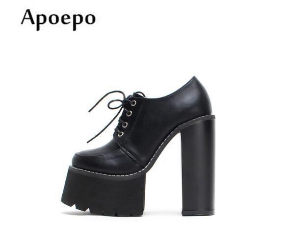 Apoepo Newest Thick heels Woman Shoes 2018 Round Toe Lace-up High Heel Shoes Sexy Platform Thick Heels Lady Pumps newest solid flock high heel pumps woman