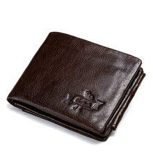 цена на Men Wallets Vintage Cow Genuine Leather Wallet Male Handmade Custom Price Coin Purse Short Wallet carteira RFID Blocking
