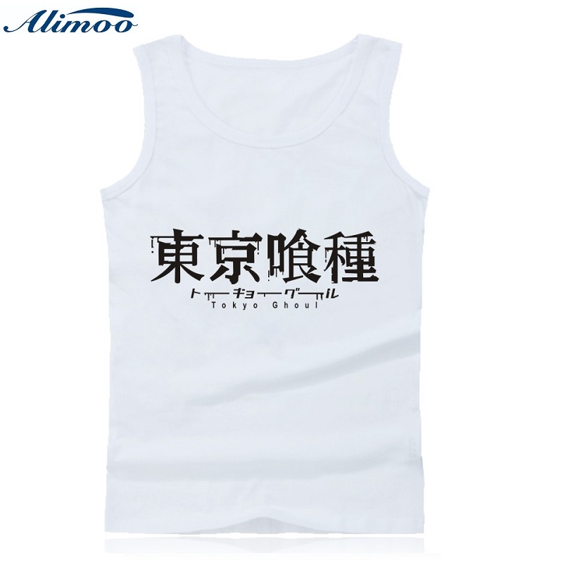Alimoo Tokyo Ghoul Anime Tank Top Men font b Fitness b font with Cartoon Print Summer