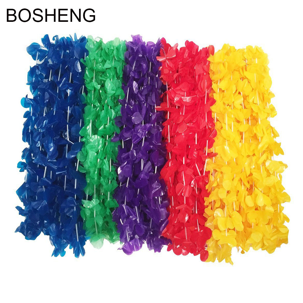 50pcs Hawaiian Colorful Luau Plsatic Flower Leis Necklaces for Tropical Island Beach Theme Party Event