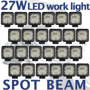 Tkeapl THTMH 24PCS Sqaure 27W LED working light Spot Pencil beam work lamp Truck Off Road UTE 4WD D40 2090LM
