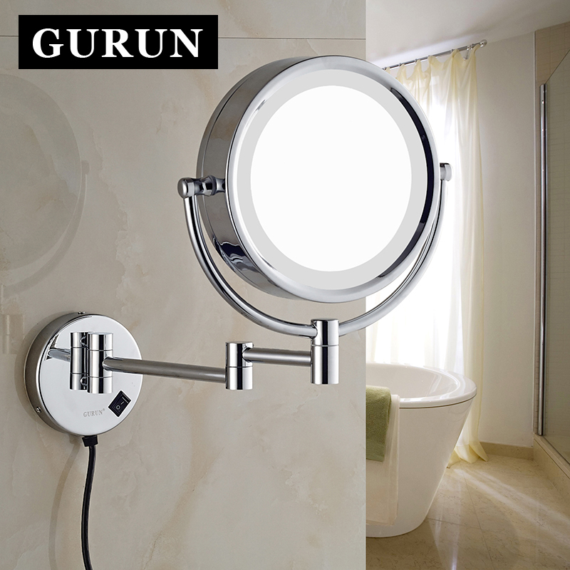 85 inch led lighted wall mount makeup mirrors with 10x chrome shaving vanity cosmetic compact mirror with lights