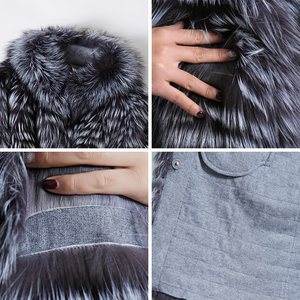 Image 5 - ZIRUNKING Knitted  Real Silver Fox Fur Coats Fashion Fur Jacket Striped Style Outfit Female Fox Fur For Autumn ZCW 02YL