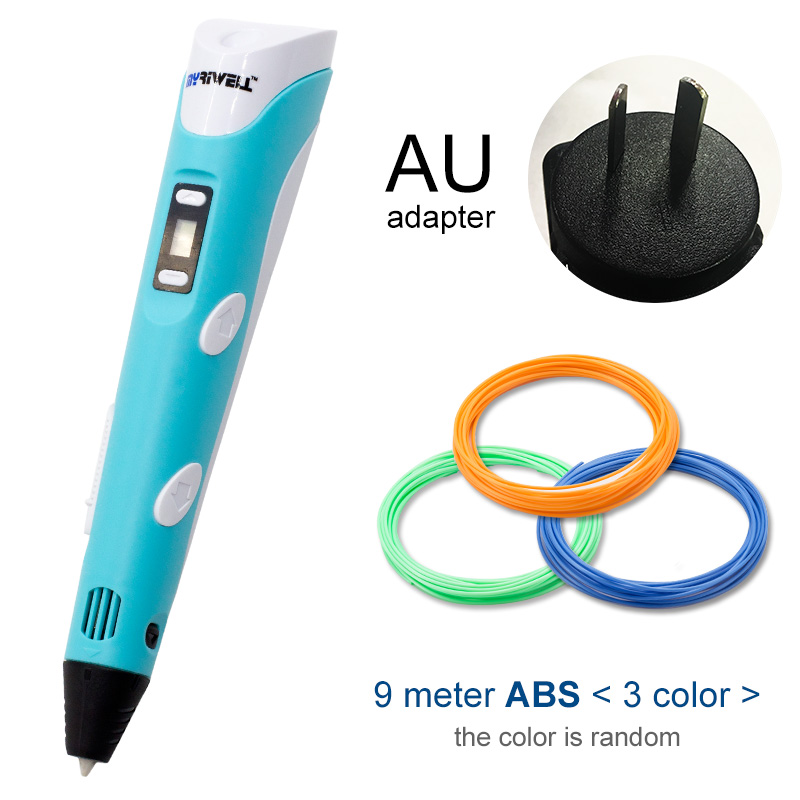 Myriwell, 3D ручка, светодиодный экран, сделай сам, 3D Ручка для печати, 100 м, ABS нити, креативная игрушка, подарок для детей, дизайнерский рисунок - Цвет: Blue AU