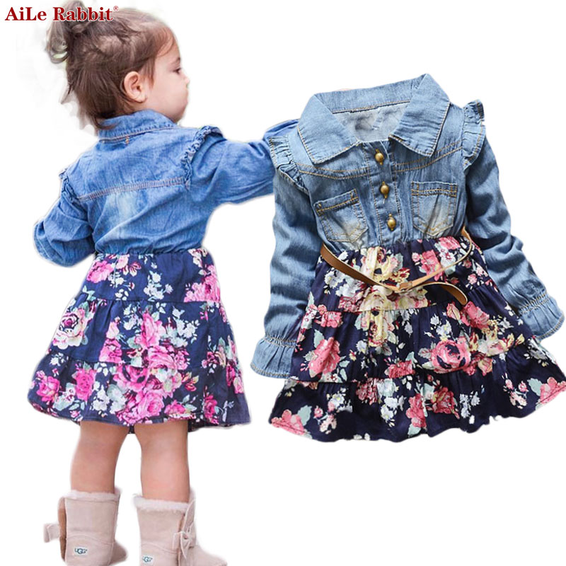 AiLe Rabbit INS Autumn Girls Dresses Floral Denim Long Sleeves Dress Flowers Belt Fashion Flying Sleeve Child's Dress Kids k1 fashion round collar long sleeves floral print women s mini dress