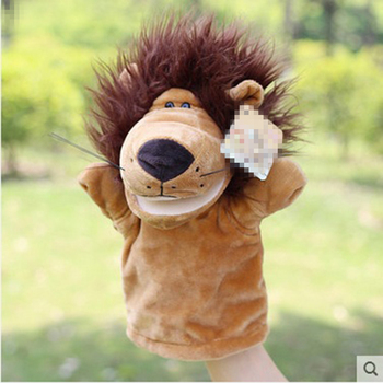New arrive small lion Delicate Baby Child Zoo Farm Animal Hand Glove Puppet Finger Sack Plush Toy  baby toys animal hand puppets lingerie top