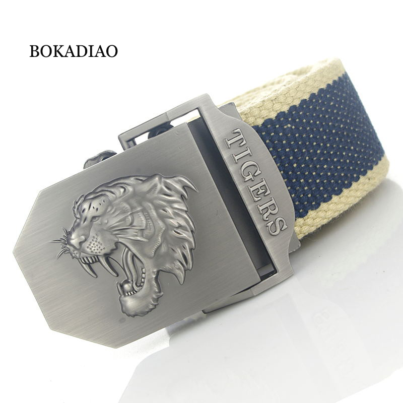 BOKADIAO Men&Women Military Canvas Belt Luxury Tigers Metal Buckle Jeans Belt Army Tactical Belts For Women Waistband Strap Male