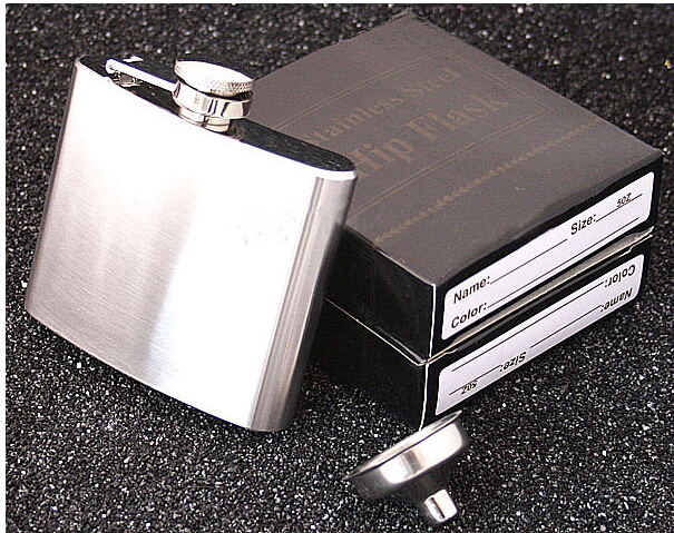 Free shipping 100 pcs New Portable Hip Flasks Stainless Steel Wine Pot Men Flagon With Funnel 5 Ounce 107g