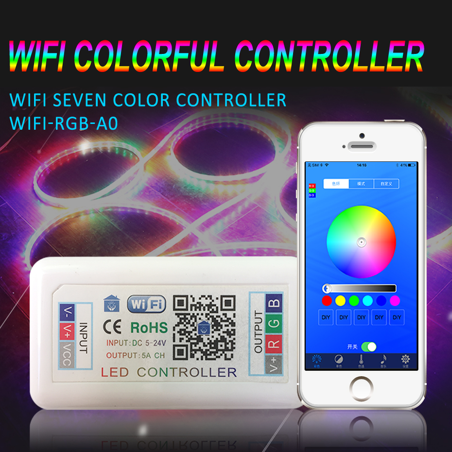 LED Controller Wifi RGB Remote Controller For LED Strip SMD 5050 DC 12V 24V <font><b>5V</b></font> Led Light Controller Wifi Wireless RGBW Control image