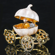 "H&D 3.4"" Hinged Trinket Box Crystal Carriage Figurine Collectible Ornament Christmas Gifts"